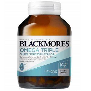 Dầu cá hàm lượng cao Blackmores Omega Triple Super Strength Fish Oil của Úc lọ 60 viên
