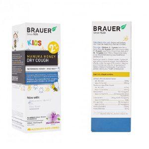 Siro ho mật ong Brauer Kids Manuka Honey Dry Cough của Úc cho trẻ từ 2 đến 12 tuổi bị ho khan lọ 100ml