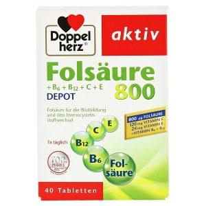 Vitamin tổng hợp Doppelherz Folsäure 800 của Đức hộp 40 viên