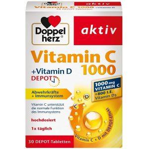 Viên uống bổ sung vitamin C và viamin D Doppel herz Vitamin C Vitamin C +Vitamin D 1000 của Đức hộp 30 viên