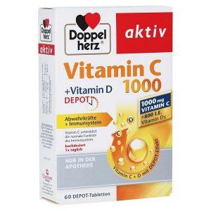 Viên uống bổ sung vitamin C và vitamin D Doppelherz Vitamin C +Vitamin D Depot 1000 của Đức hộp 60 viên