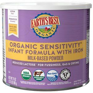 Sữa Earth's Best Organic Sensitivity Infant Formula With Iron của Mỹ cho trẻ từ 0 đến 12 tháng hộp 595g