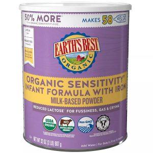 Sữa Earth's Best Organic Sensitivity Infant Formula With Iron của Mỹ cho trẻ từ 0 đến 12 tháng hộp 907g