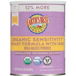 Sữa Earth's Best Organic Sensitivity Infant Formula With Iron của Mỹ cho trẻ từ 0 đến 12 tháng hộp 992g