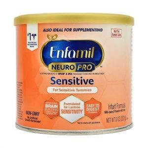 Sữa bột Enfamil Neuro Pro Sensitive của Mỹ cho trẻ từ 0 đến 12 tháng tiêu hóa kén, nôn chớ, dị ứng lactose hộp 227g