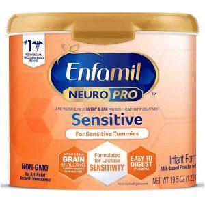 Sữa bột Enfamil Neuro Pro Sensitive của Mỹ cho trẻ từ 0 đến 12 tháng tiêu hóa kén, nôn chớ, dị ứng lactose hộp 552g