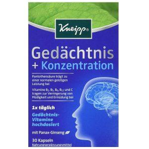 Viên uống bổ não, hỗ trợ tiền đình Kneipp Gedächtnis + Konzentration của Đức hộp 30 viên