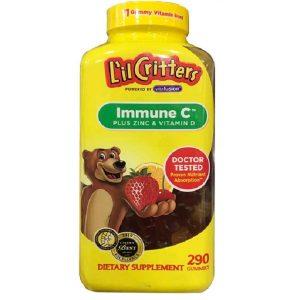 Kẹo dẻo gấu L'il Critters Immune C Plus Zinc & Vitamin D tăng sức đề kháng cho trẻ của Mỹ, lọ 290 viên.