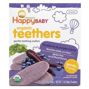 Bánh ăn dặm hữu cơ Happy Baby Organic Teethers cho bé từ 6 tháng tuổi của Mỹ hộp 12 gói 2 bánh/gói.