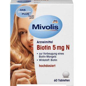 Viên uống đẹp da, tóc và móng Dm Mivolis Arzneimittel Biotin 5mg N của Đức hộp 56 viên