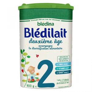 Sữa bột Blédina Blédilait số 2 của Pháp cho trẻ từ 6 – 12 tháng hộp 900g