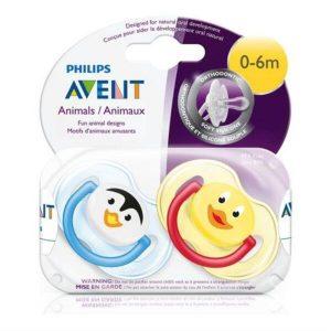 set 2 ty ngậm Philips Avent Animals cho bé từ 0 đến 6 tháng tuổi