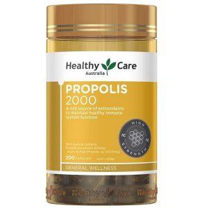 Viên keo ong tăng cường sức đề kháng Healthy Care Propolis 2000 của Úc lọ 200 viên