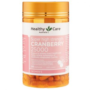 Viên duy trì sức khỏe thận và đường tiết niệu Healthy Care Super high strength Cranberry 25000 của Úc lọ 90 viên