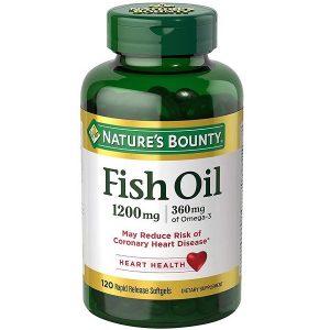 Dầu cá trợ tim, bổ mắt Nature's Bounty Fish Oil 1200mg 360mg Omega-3 của Mỹ lọ 120 viên