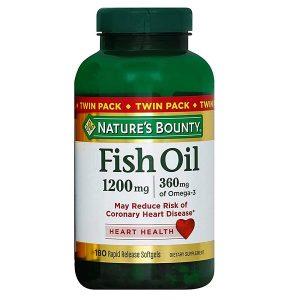 Dầu cá trợ tim, bổ mắt Nature's Bounty Fish Oil 1200mg 360mg Omega-3 của Mỹ lọ 180 viên