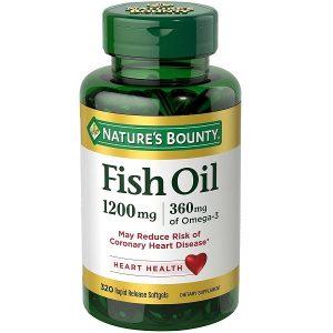 Dầu cá trợ tim, bổ mắt Nature's Bounty Fish Oil 1200mg 360mg Omega-3 của Mỹ lọ 320 viên