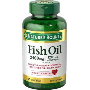 Dầu cá trợ tim, bổ mắt Nature's Bounty Fish Oil 1200mg 360mg Omega-3 của Mỹ lọ 90 viên