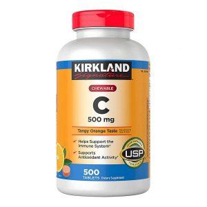 Viên bổ sung vitamin C Kirkland Signature Chewable Vitamin C 500mg của Úc lọ 500 viên