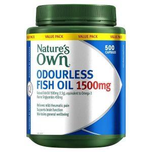 Dầu cá không mùi Nature's Own Odourless Fish Oil 1000mg của úc lọ 500 viên