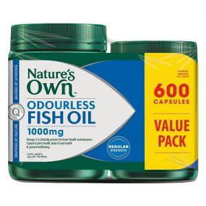 Dầu cá không mùi Nature's Own Odourless Fish Oil 1000mg của úc lọ 600 viên