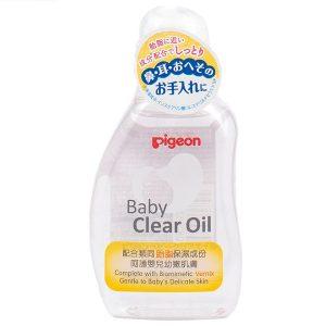 Dầu massage dưỡng ẩm cho bé Pigeon Baby Clear Oil Mannings của Nhật Bản lọ 80ml