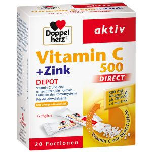 DoppelHerz Vitamin C + Zink 500 Direct của Đức hộp 20 gói