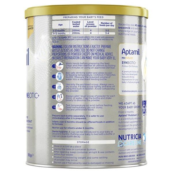 Sữa bột Aptamil Profutura Synbiotic số 2 của Úc cho trẻ từ 6 đến 12 tháng hộp 900g