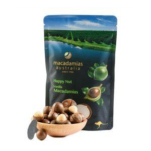 hạt mắc ca nguyên vỏ Macadamias Australia Vanilla Happy Nut 225gr.1.1
