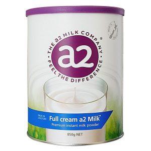 Sữa tươi dạng bột A2 nguyên kem Full Cream Milk của Úc cho trẻ từ 3 tuổi hộp 850g