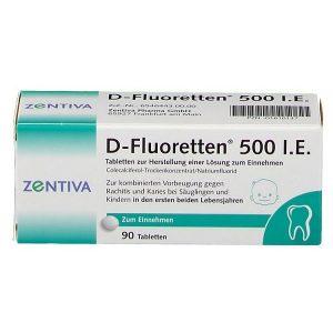 Vitamin D-Fluoretten 500 I.E cho trẻ từ 0 - 2 tuổi, hộp 90 viên