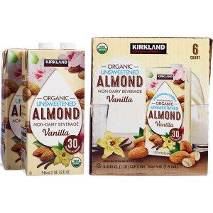 Sữa hạnh nhân Kirkland Signature Organic không đường của Mỹ thùng 6 hộp x 946ml